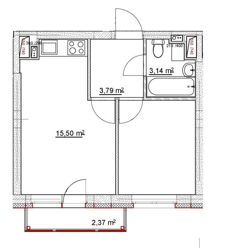 1-комнатная квартира в ЖК «Новинки SmartCity» №21