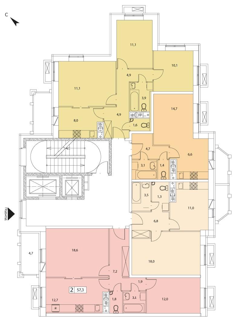 2-комнатная квартира в ЖК Видный город, дом №10к1, квартира №10к1-23