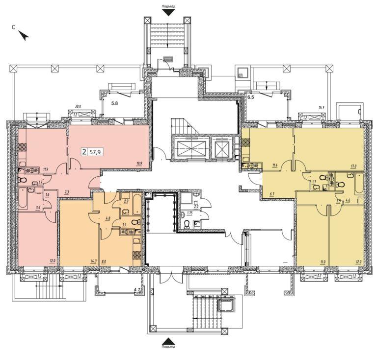2-комнатная квартира в ЖК Видный город, дом №10к1, квартира №10к1-95