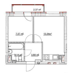 1-комнатная квартира в ЖК «Новинки SmartCity» №38