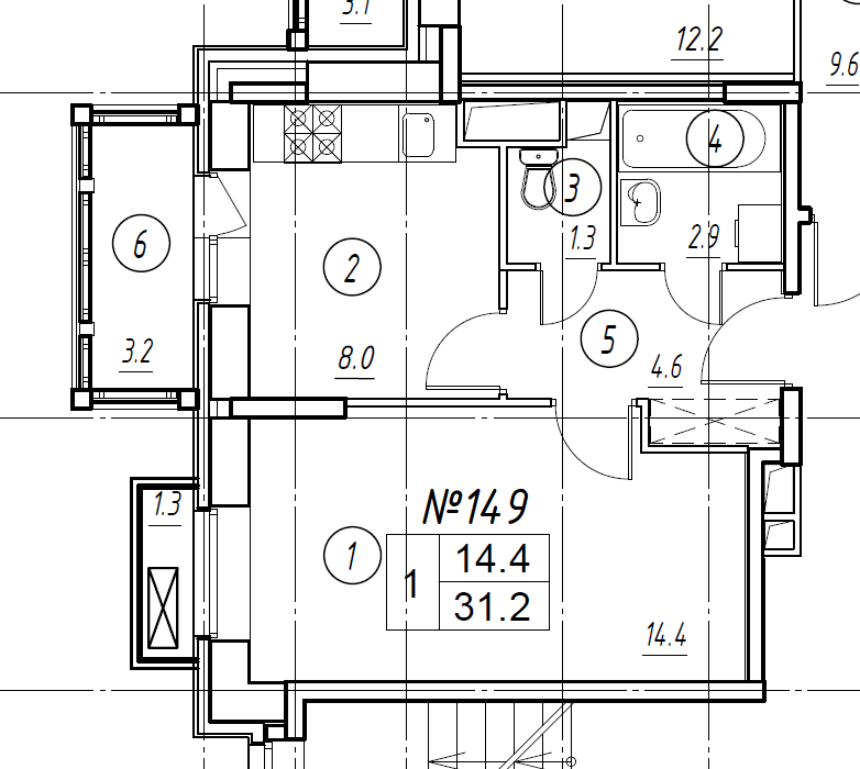 1-комнатная квартира в Митино О2, дом №8, квартира №08-149