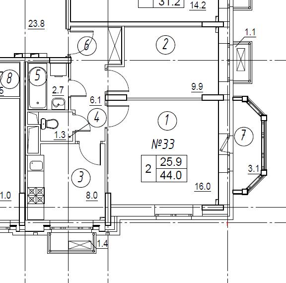 2-комнатная квартира в Митино О2, дом №8, квартира №08-033