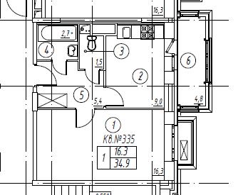 1-комнатная квартира в Митино О2, дом №8, квартира №08-335