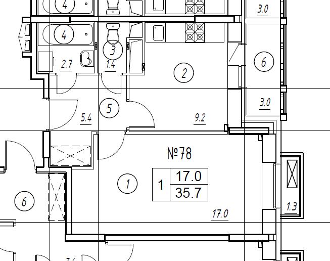 1-комнатная квартира в Митино О2, дом №8, квартира №08-078