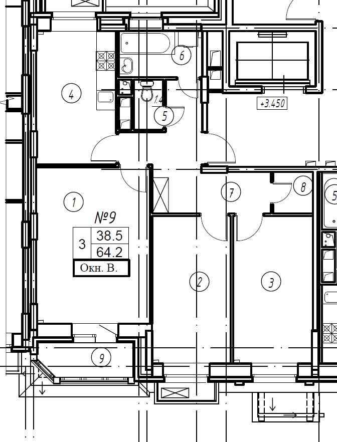 3-комнатная квартира в Митино О2, дом №8, квартира №08-009