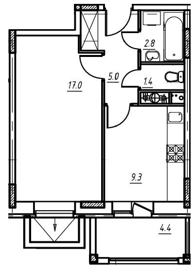 1-комнатная квартира в Митино О2, дом №9, квартира №09-104