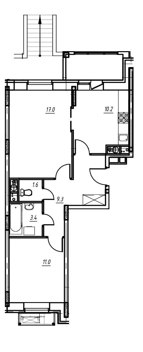 2-комнатная квартира в Митино О2, дом №9, квартира №09-105