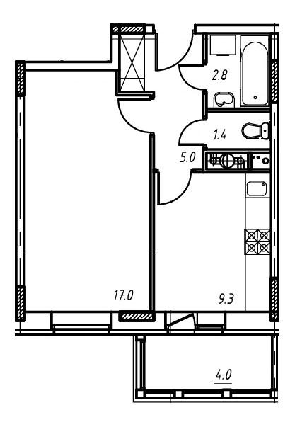 1-комнатная квартира в Митино О2, дом №9, квартира №09-108