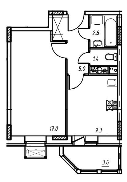 1-комнатная квартира в Митино О2, дом №9, квартира №09-124