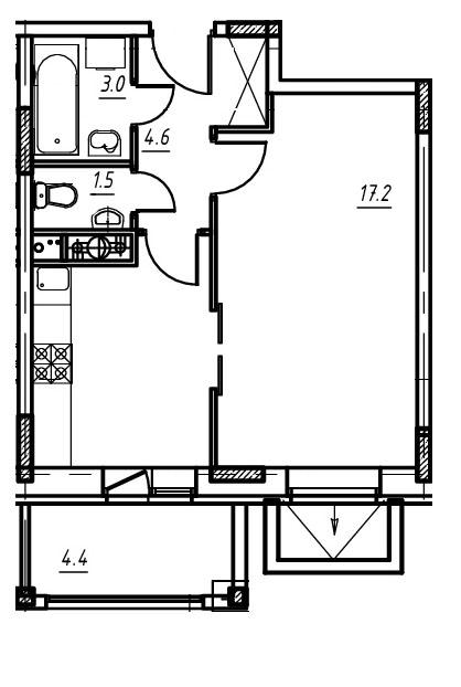 1-комнатная квартира в Митино О2, дом №9, квартира №09-134