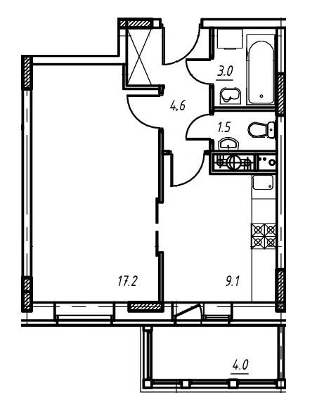 1-комнатная квартира в Митино О2, дом №9, квартира №09-138