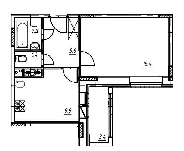 1-комнатная квартира в Митино О2, дом №9, квартира №09-164