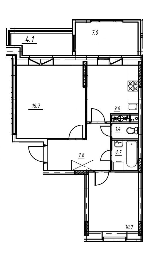 2-комнатная квартира в Митино О2, дом №9, квартира №09-168