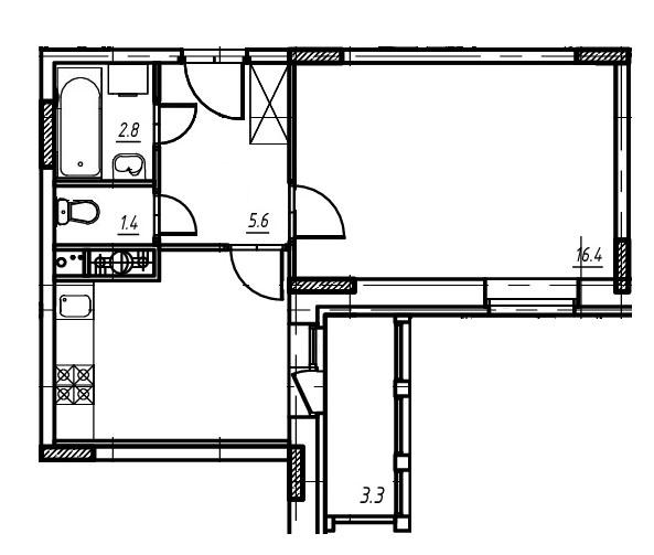 1-комнатная квартира в Митино О2, дом №9, квартира №09-174