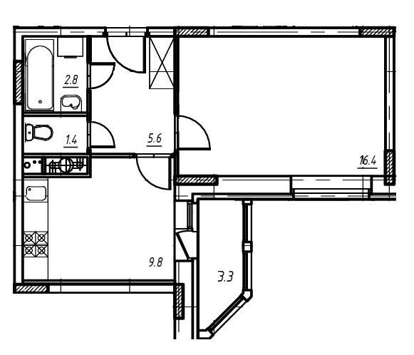1-комнатная квартира в Митино О2, дом №9, квартира №09-189