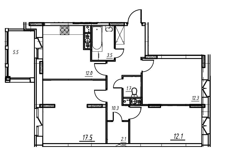3-комнатная квартира в Митино О2, дом №9, квартира №09-195