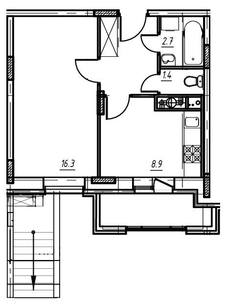 1-комнатная квартира в Митино О2, дом №9, квартира №09-002