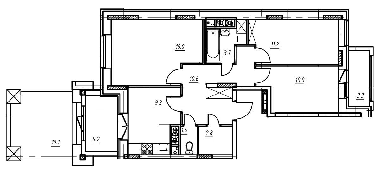 3-комнатная квартира в Митино О2, дом №9, квартира №09-204