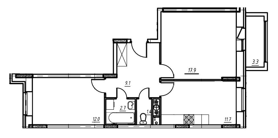 2-комнатная квартира в Митино О2, дом №9, квартира №09-205