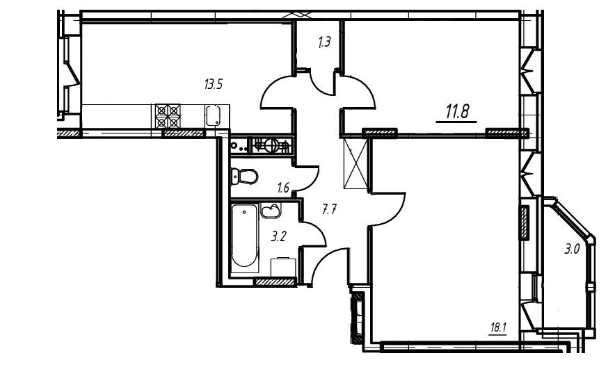 1-комнатная квартира в Митино О2, дом №9, квартира №09-223