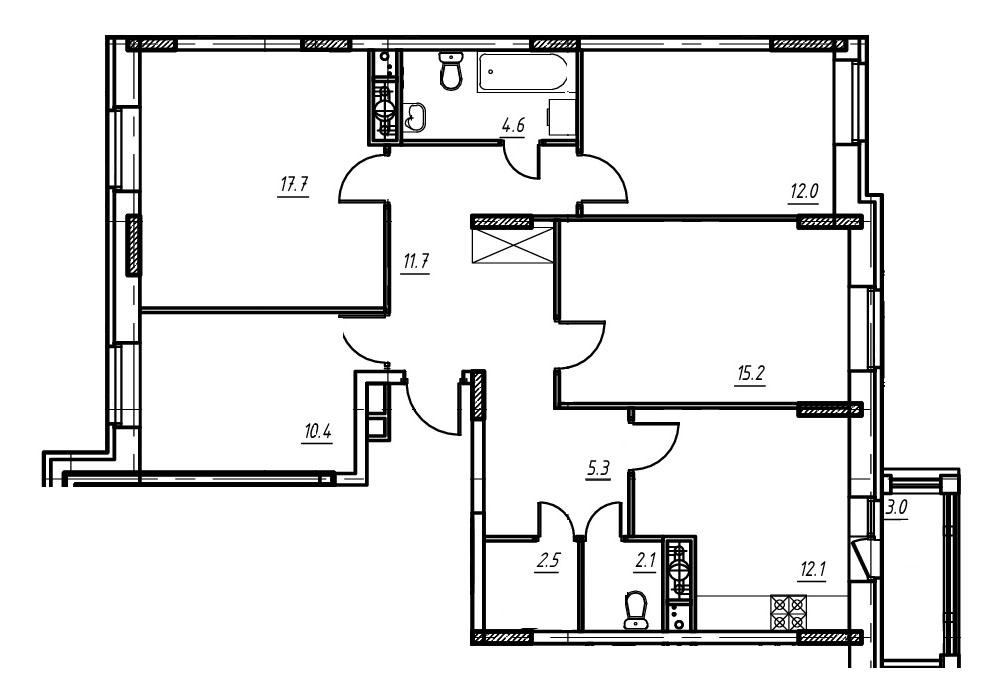 3-комнатная квартира в Митино О2, дом №9, квартира №09-023