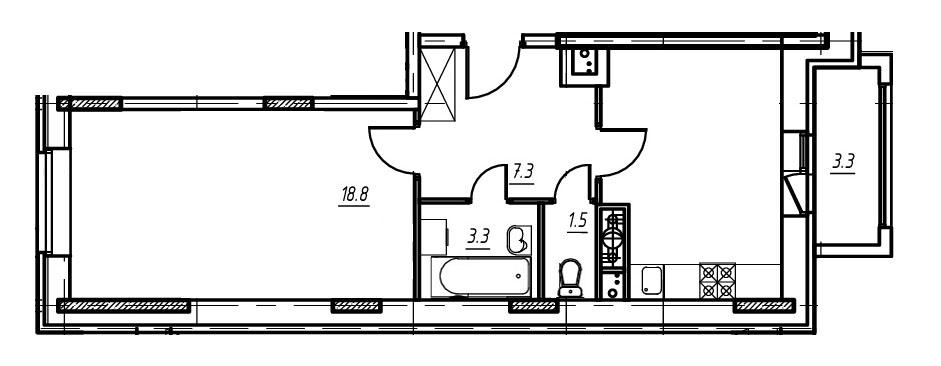 1-комнатная квартира в Митино О2, дом №9, квартира №09-232