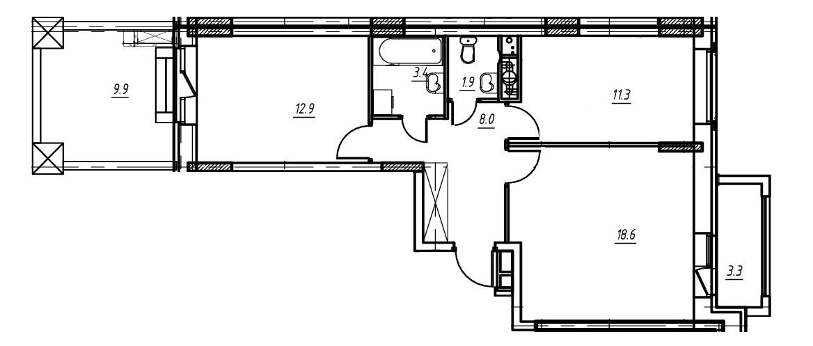 2-комнатная квартира в Митино О2, дом №9, квартира №09-233