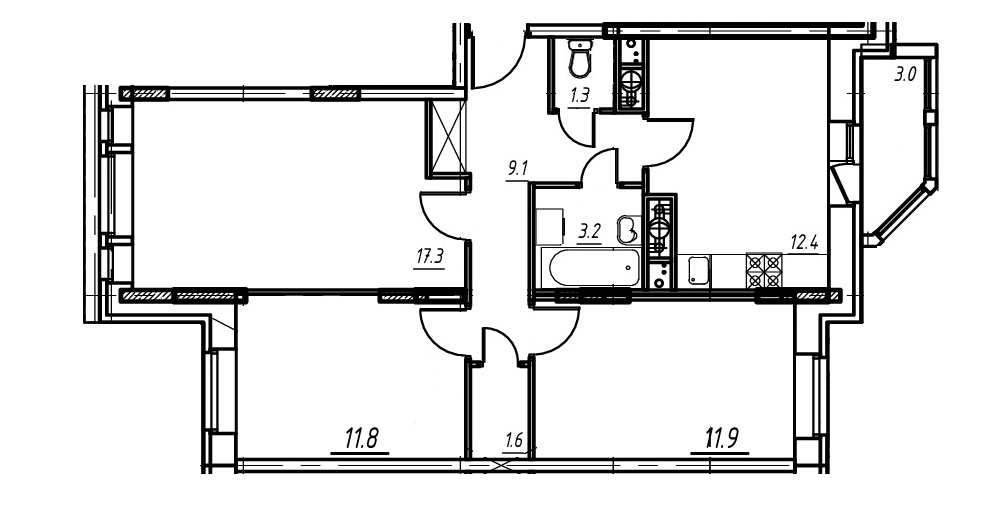 3-комнатная квартира в Митино О2, дом №9, квартира №09-243