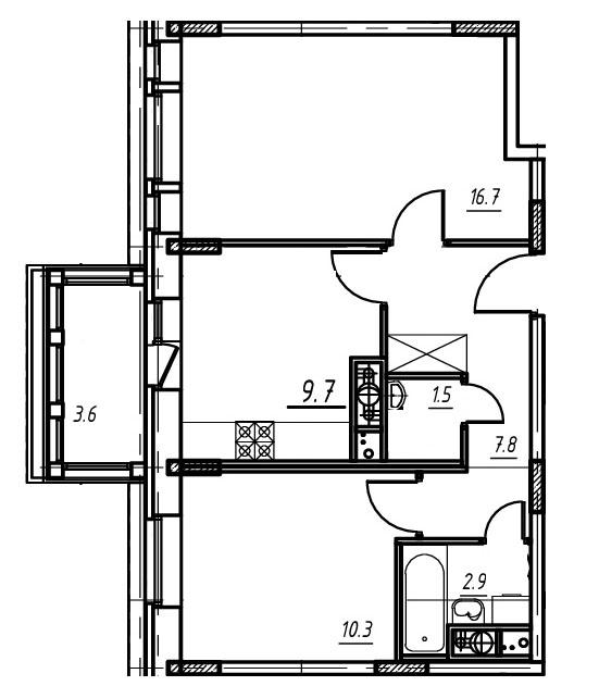 2-комнатная квартира в Митино О2, дом №9, квартира №09-244