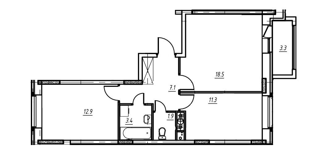 2-комнатная квартира в Митино О2, дом №9, квартира №09-255
