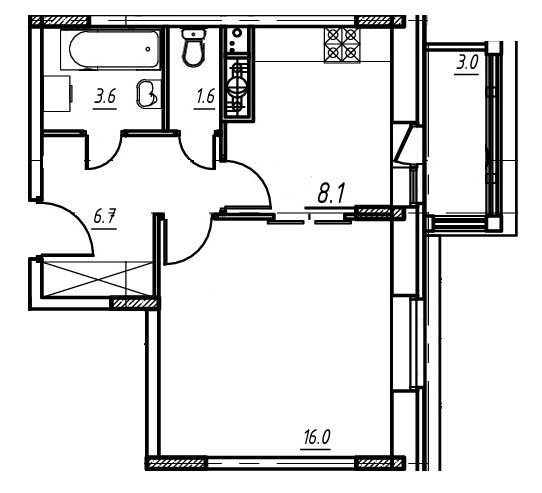 1-комнатная квартира в Митино О2, дом №9, квартира №09-032