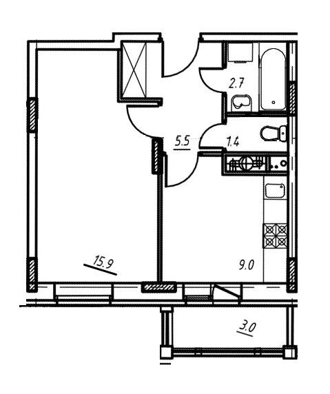 1-комнатная квартира в Митино О2, дом №9, квартира №09-344