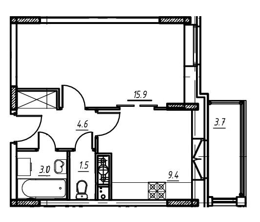 1-комнатная квартира в Митино О2, дом №9, квартира №09-004