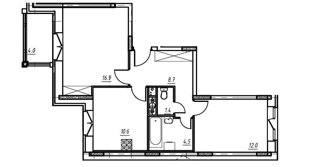 2-комнатная квартира в Митино О2, дом №9, квартира №09-042