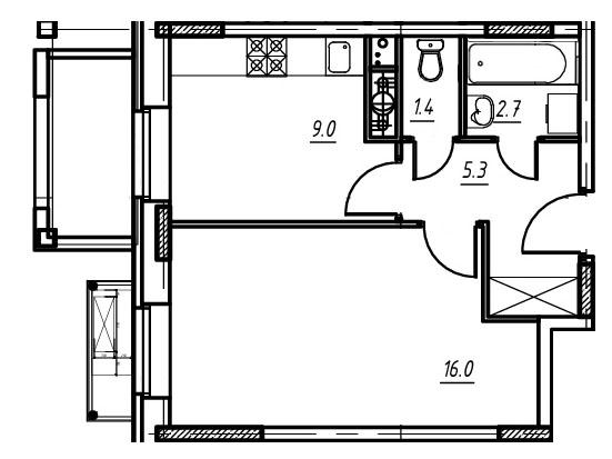 1-комнатная квартира в Митино О2, дом №9, квартира №09-044