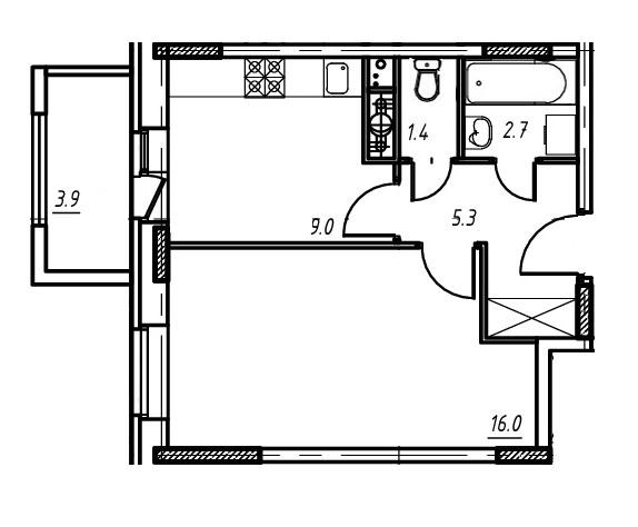 1-комнатная квартира в Митино О2, дом №9, квартира №09-047