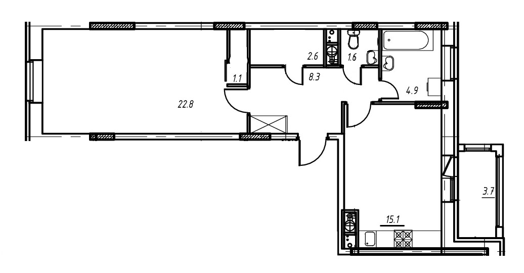 1-комнатная квартира в Митино О2, дом №9, квартира №09-049