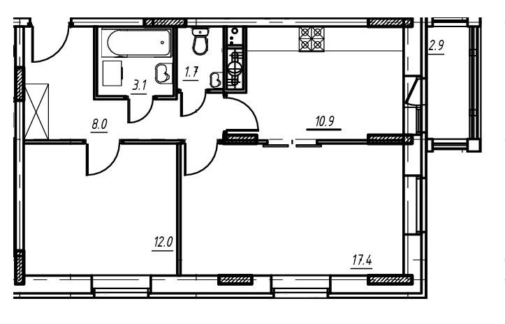 2-комнатная квартира в Митино О2, дом №9, квартира №09-005