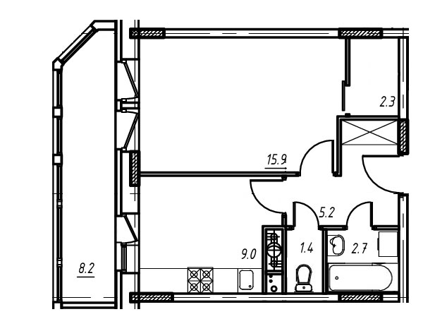 1-комнатная квартира в Митино О2, дом №9, квартира №09-052