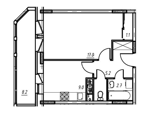 1-комнатная квартира в Митино О2, дом №9, квартира №09-060