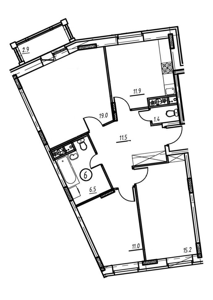 3-комнатная квартира в Митино О2, дом №9, квартира №09-007