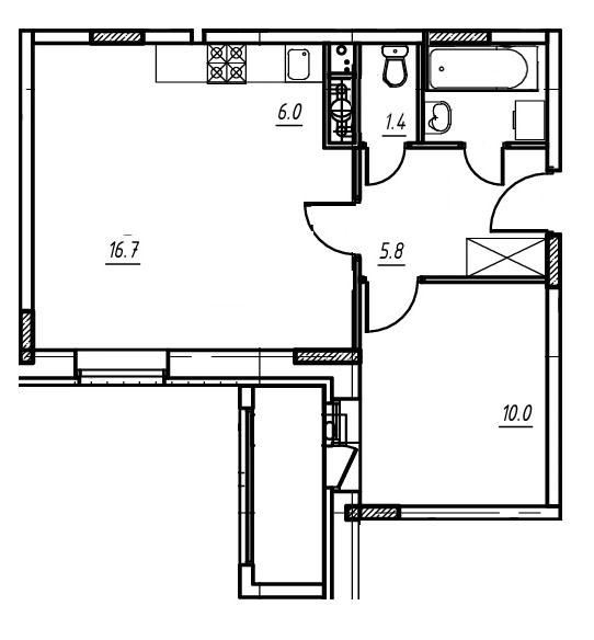 2-комнатная квартира в Митино О2, дом №9, квартира №09-074
