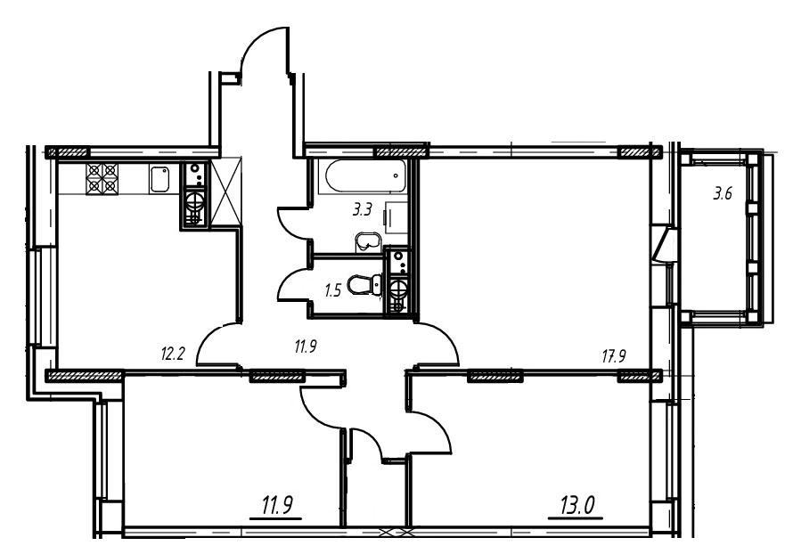 3-комнатная квартира в Митино О2, дом №9, квартира №09-088