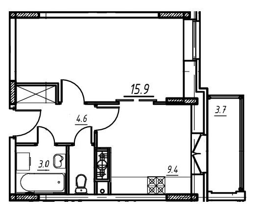 1-комнатная квартира в Митино О2, дом №9, квартира №09-009