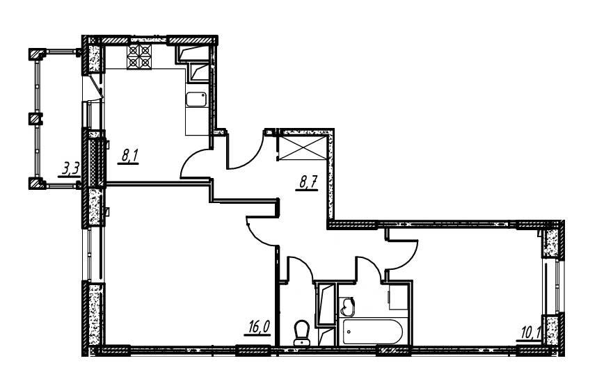 2-комнатная квартира в Опалиха О3 №14-126