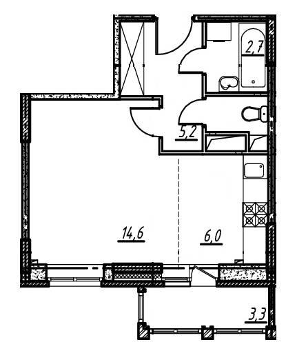 1-комнатная квартира в Опалиха О3 №14-188