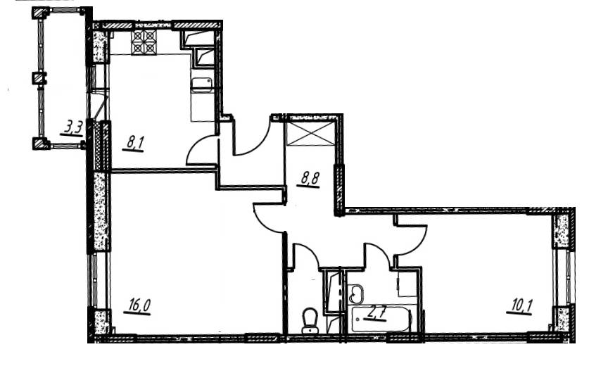 2-комнатная квартира в Опалиха О3 №14-269