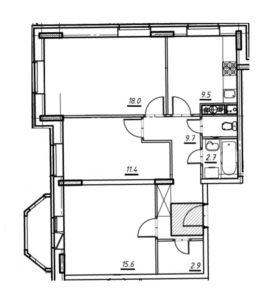 3-комнатная квартира в Опалиха О3 №18-030