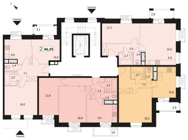 2-комнатная квартира в ЖК Видный город, дом №12к1, квартира №12к1-7