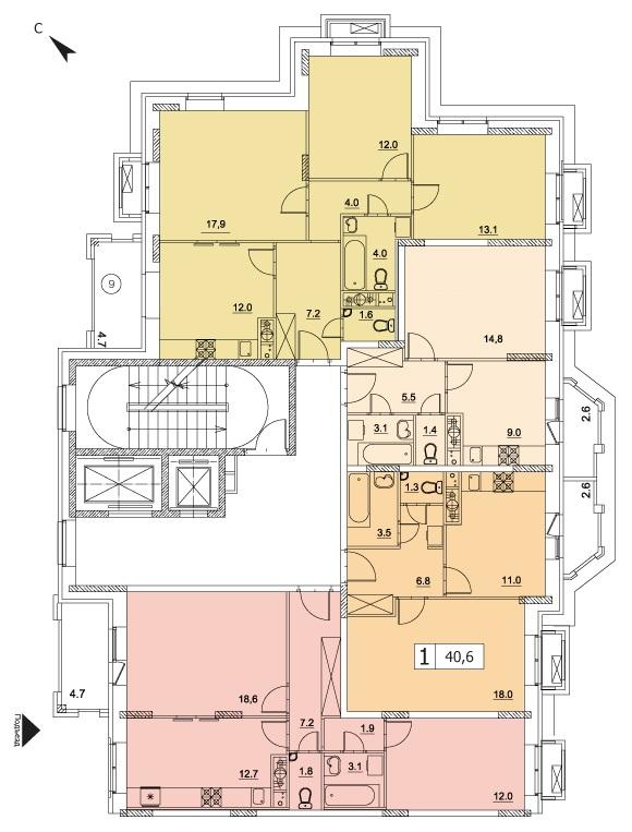 1-комнатная квартира в ЖК Видный город, дом №10к1, квартира №10к1-6